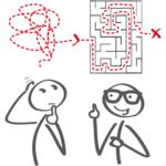 zwei Strichmännchen mit Labyrinth über dem Kopie (Erklärung)