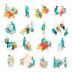 Elderly People Nursing Home Isometric Set 1
