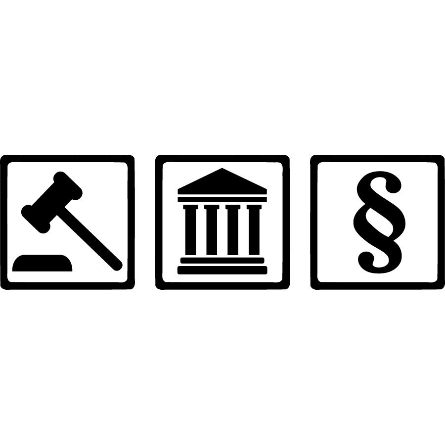 Gerichtssymbole, Hammer, Gebäude, Paragraf