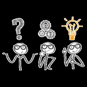 Männchen mit Fragezeichen, Zahnrädern und Glühbirne