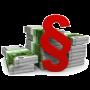 roter Paragraf vor Geldbündeln
