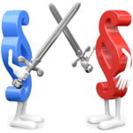 Paragrafenmännchen mit Schwertern